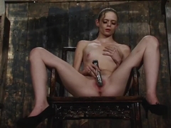 Angelina Black Tied Down Fuck Machine Orgasm