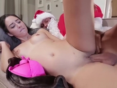Naughty Rachel Rose wants Santas candy cane deep in her twat