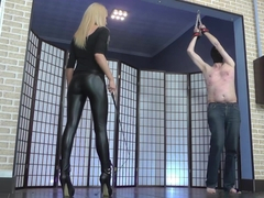 Dressage whipping by hot young blonde mistress in leather