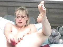 Hot Mature Blonde with Glasses and Short Hair Helping Guys R