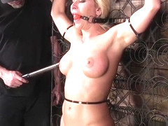 Big tits blonde hard whipped in bondage