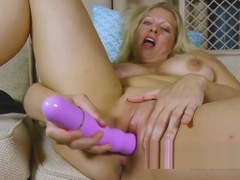 Blonde busty milf toys pussy