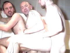 Two big cocks to enjoy in a bathhouse threesome - ButchDixon