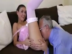 Sexy Ballerina In Stockings Strokes Her Pussy