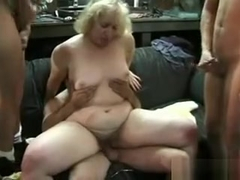 Blond Bbw Gangbangs A Bunch Of Mechanics