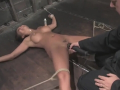 Eva bit tits are suctioned hard with her pussy n whipped n oragasmed