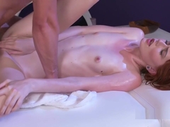 Slim Naked Redhead Oiled And Banged