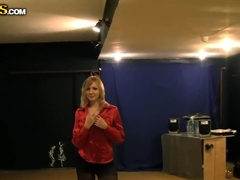 Hot blonde Sidney sucks two hard rods in gym
