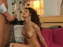 Horny dude Christian with a beautiful brunette babe Jenni Lee