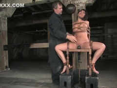 Slutty slut Ava Devine in automated fucking machine gagged, whipped n roped