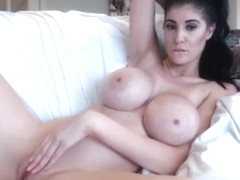 busty brunette women with fake tits and dildo