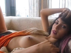 Amateur beautiful busty persian camgirl posing on webcam