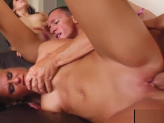 Regina Moon and Myra Lyon hardcore sex and sperm share