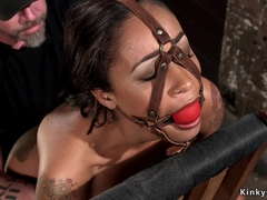 Mummified ebony slut gets caned