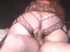 Bbw bodystocking quickie, dick riding and doggstyle