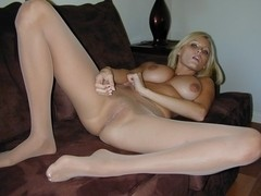 Hanna Hilton Spreads Her Legs Covered In Nylon Hose
