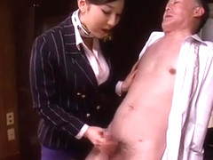 Japanese old man tries to grope hot hostess