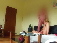 Ugly german 10 s slut Sandra with psoriasis and saggy tits - SPY CAM -