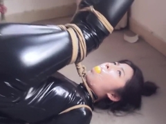 chinese CLEAR TAPE OVER BALL GAGGED IN CATSUIT