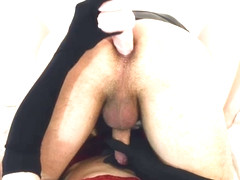 Prostate milking in doggy style (cum on my tits)