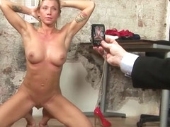 Sexy MILF secretary humiliating naked job inteview