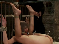 Beautiful Latina girl is orgasmed to sub space. Brutal nipple torture, clit torture & foot caning.