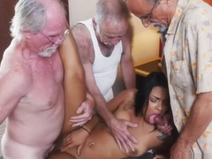 Young couple old man hd Staycation with a