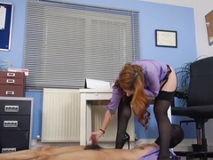 Trample with high heels and footjob stocking