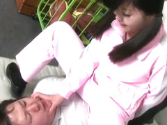 Japanese School Girl Cums while facesitting tied guy