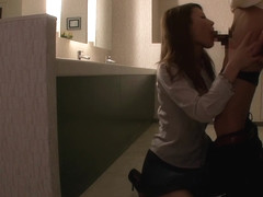 Haruka Sanada, Asian milf gives head in the office toilet
