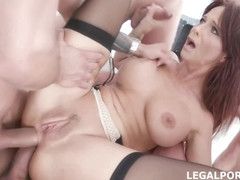 Experienced woman, Syren De Mer is getting fucked balls deep by a group of guys