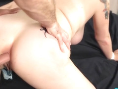 Tattooed, blonde cock teaser, Missy Monroe got cum all over her face after getting assfucked