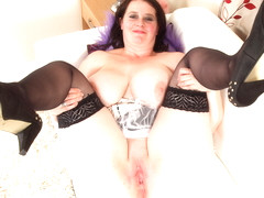 Busty mature maid Jane finger fucks her bald cunny