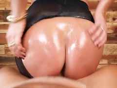 Oiled ass brunette fucks in pantyhose