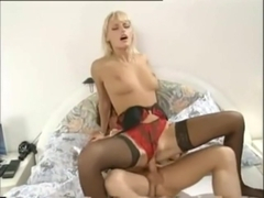 Anita Blonde in stockings fucks a lucky guy
