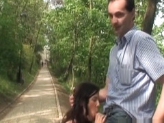 Tourists caught horny couple fucking on the road