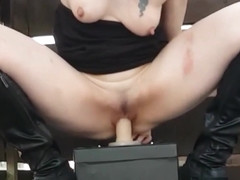 Horny Pale Chick Is Riding Her Favorite Dildo