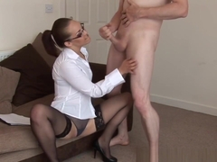 Clothed Spex Babe Teases And Sucks Subs Cock