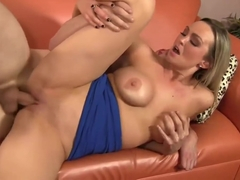 Sex on couch jizz on Tits