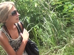 Vicktoria Tiffany in outdoor sex scene showing a very nice cock-sucking