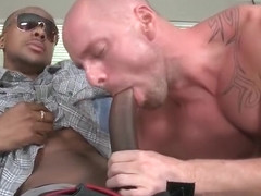 Pierced sack gets hard black part1