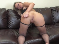 Abbey Brooks fingers herself on the sofa