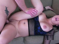 Busty babe Sonya Sage fucks and takes the cum on her tits