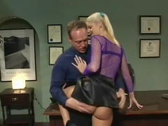 Naughty blonde schoolgirl with pigtails has the dean fucking her cunt on his desk