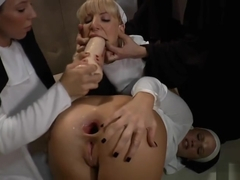 Nuns With Double Dildos, Dildo Gagging