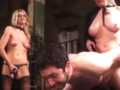 Aiden Starr and friends pegging sub guy