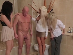 Dirty old man sucked off by three girls