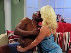 Lusty Kaylee Brookshire gives blowjob to black bull