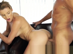 Dad fucks beautiful mistress Victoria Daniels on couch