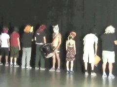 Raunchy guys and sexy chicks strip down on the stage